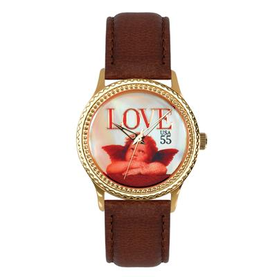 "Postal Service Collection ""Cupid Love"" Watch with Brown Leather Strap"