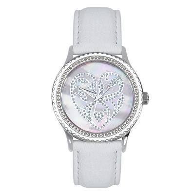 "Postal Service Collection ""Wedding Hearts"" Watch with White Leather Strap"