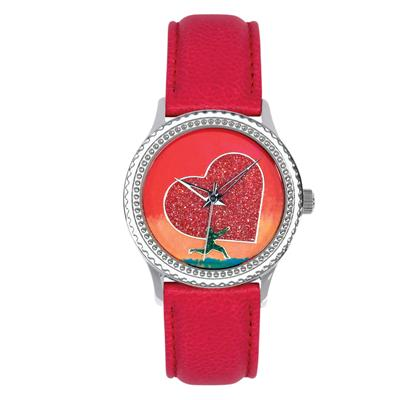 """Postal Service Collection """"Running With Your Heart"""" Watch with Red Leather Strap"""