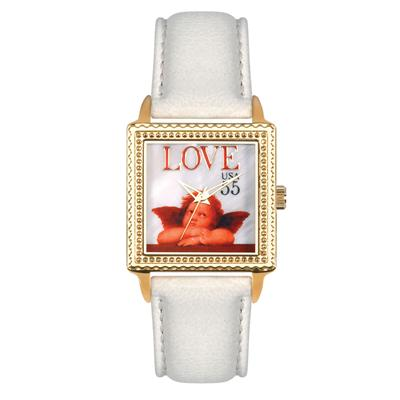 "Postal Service Collection ""Cupid Love"" Watch with White Leather Strap"
