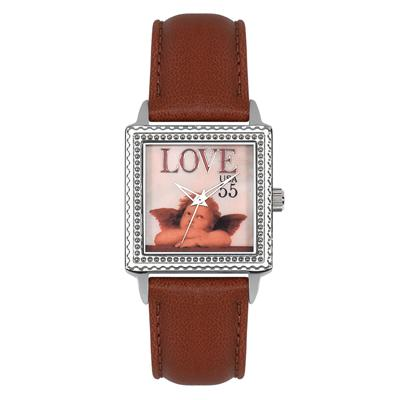 "Postal Service Collection ""Cupid Love"" Watch with Maroon Leather Strap"