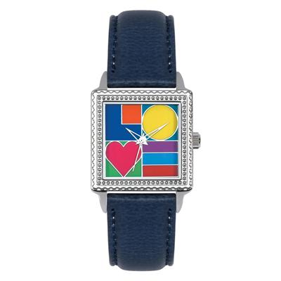 """Postal Service Collection """"Mod Love"""" Watch with Blue Leather Strap"""