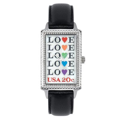 "Postal Service Collection ""Love Repeat"" Watch with Black Leather Strap"