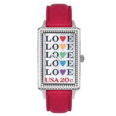"Postal Service Collection ""Love Repeat"" Watch with Red Leather Strap"