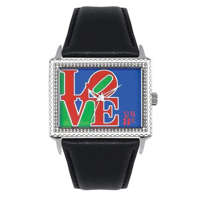"""Postal Service Collection """"Mod Love"""" Watch with Black Leather Strap"""