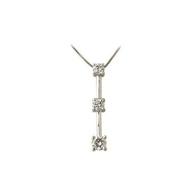 .25CTW Classic Diamond Three Stone Pendant in 14K White Gold