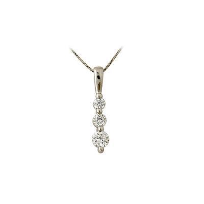 .25CTW Three Stone Diamond Drop Pendant 14K White Gold