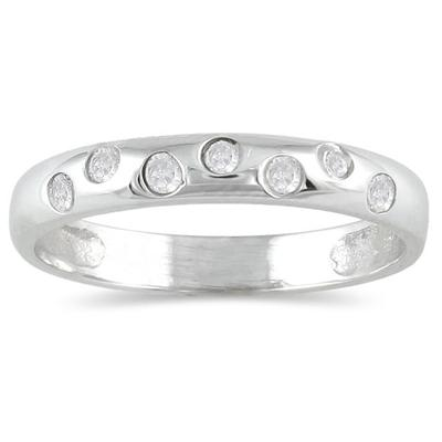 Seven Sparkles 10k White Gold Diamond Band