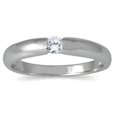 Bezel Set Diamond Ring in 14kt White Gold