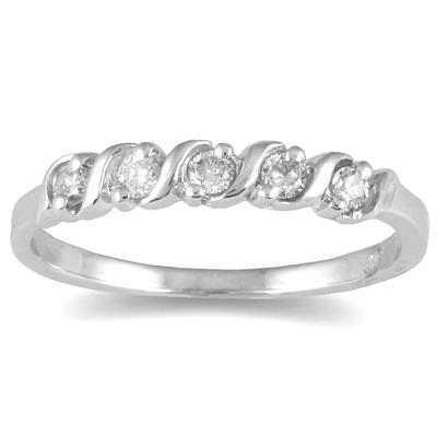 5 Stone S Groove Diamond Band in 10K White Gold