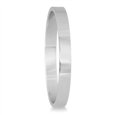 2mm Flat Comfort Fit Wedding Band in 10k White Gold