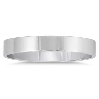 3mm Flat Comfort Fit Wedding Band in 10k White Gold
