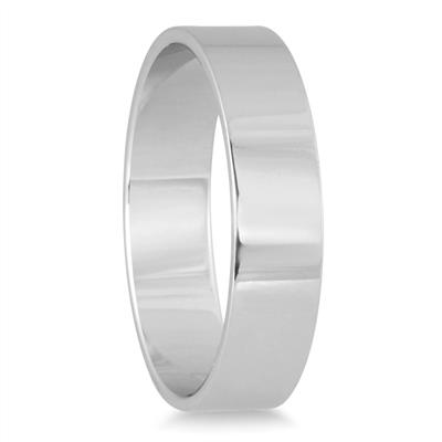4mm Flat Comfort Fit Wedding Band in 10k White Gold