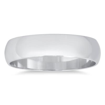 4mm Domed Wedding Band in 14K White Gold