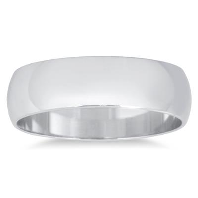 5mm Domed Wedding Band in 10K White Gold