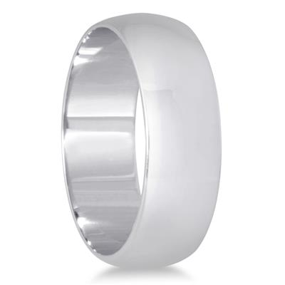 6mm Domed Wedding Band in 10K White Gold