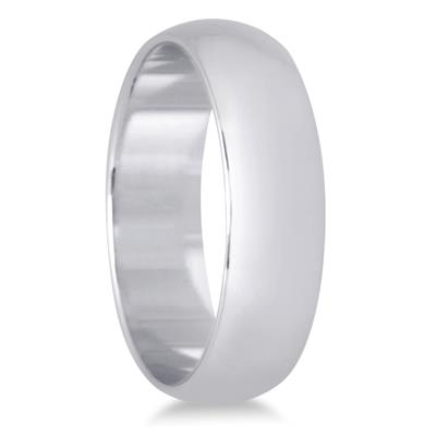 5mm Domed Comfort Fit Wedding Band in 10K White Gold