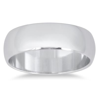 6mm Domed Comfort Fit Wedding Band in 14K White Gold