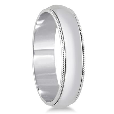 5mm Milgrain Edge Comfort Fit Wedding Band in 14K White Gold