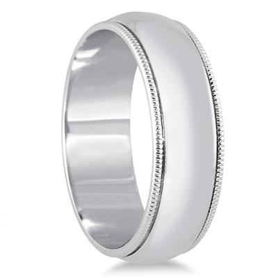 6mm Milgrain Edge Comfort Fit Wedding Band in 14K White Gold