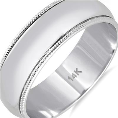 6mm Milgrain Edge Comfort Fit Wedding Band in 14K White Gold