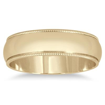 5mm Milgrain Edge Comfort Fit Wedding Band in 14K Yellow Gold