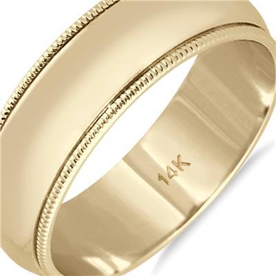 6mm Milgrain Edge Comfort Fit Wedding Band in 14K Yellow Gold