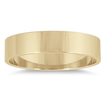 4mm Flat Wedding Band in 14K Yellow Gold