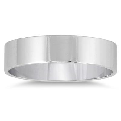 4mm Flat Comfort Fit Wedding Band in 14K White Gold