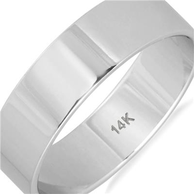 5mm Flat Comfort Fit Wedding Band in 14K White Gold