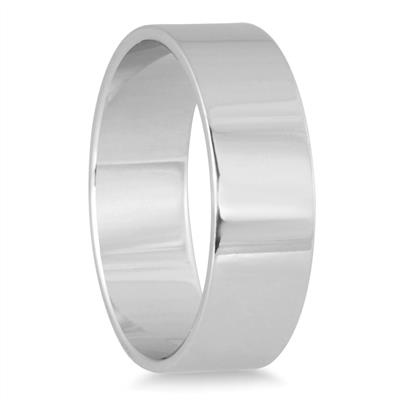 6mm Flat Comfort Fit Wedding Band in 14K White Gold