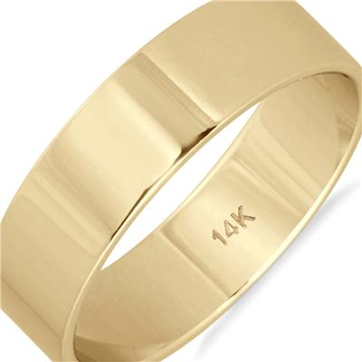 5mm Flat Comfort Fit Wedding Band in 14K Yellow Gold