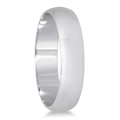 4mm Domed Comfort Fit Wedding Band in 10K White Gold