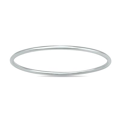 Skinny Thin Domed Stackable 14K White Gold Band (.75 mm)