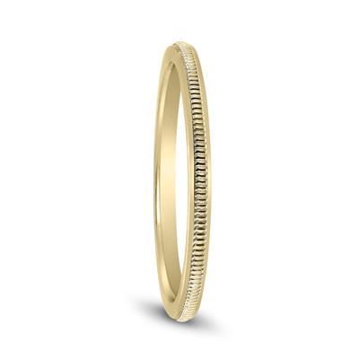 1mm Thin 14k Yellow Gold Wedding Band Ring