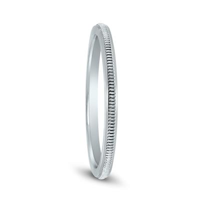 1MM Thin Hand-Squeezed Milgrain Wedding Band in 14K White Gold