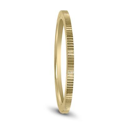 Thin 1MM Hand Cut Ridged Design Wedding Band in 14K Yellow Gold