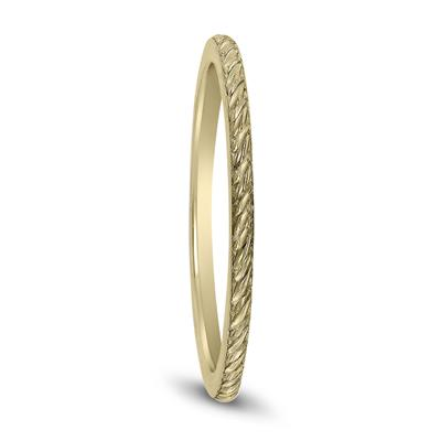Thin 1MM Rope Knurl Wedding Band in 14K Yellow Gold