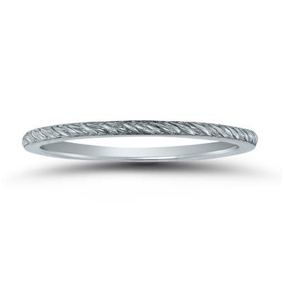 Thin 1MM Rope Knurl Wedding Band in 14K White Gold