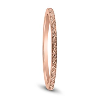 Thin 1MM Rope Knurl Wedding Band in 14K Rose Gold