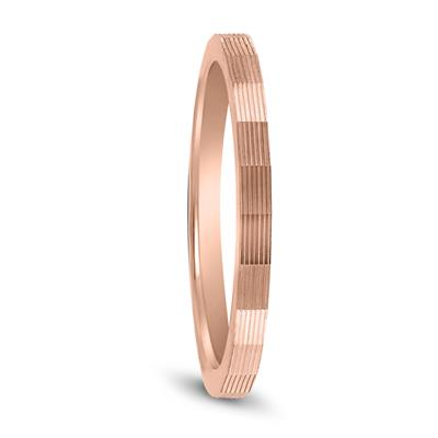 14K Rose Gold Thin Faceted Groove Design 1.5MM Wedding Band