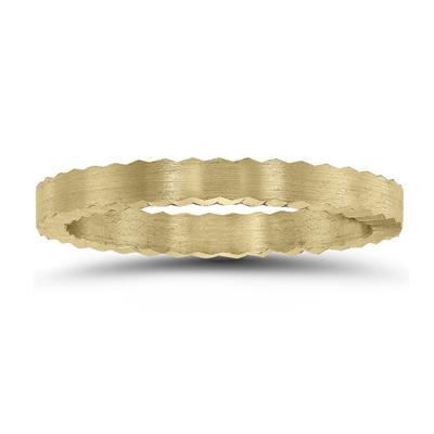 2MM Matte Finish Jagged Edge Crown Wedding Band in 14K Yellow Gold