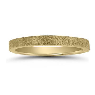 2MM Spun Stone Finish Wedding Band in 14K Yellow Gold