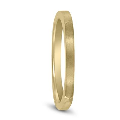 Thin 1.5MM Four Sided Wedding Band with Matte Finish in 14K Yellow Gold