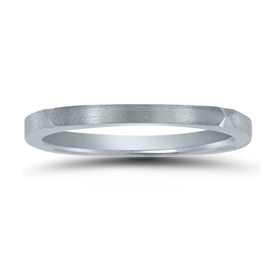Thin 1.5MM Four Sided Wedding Band with Matte Finish in 14K White Gold