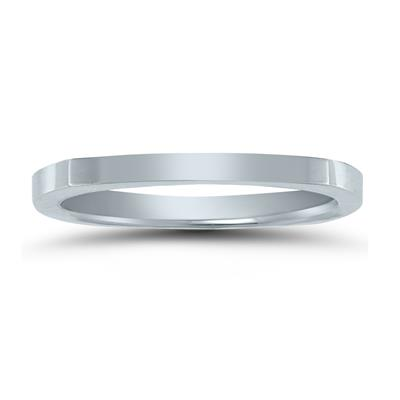 4 Sided Thin 1.5MM Wedding Band in 14K White Gold