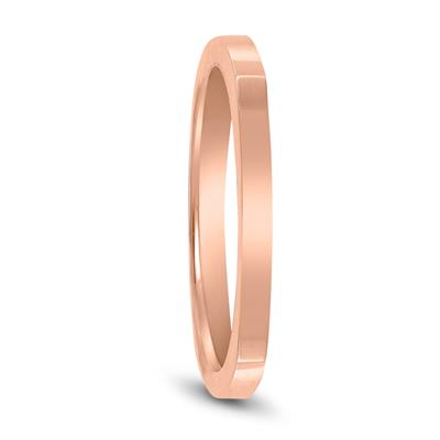 4 Sided Thin 1.5MM Wedding Band in 14K Rose Gold