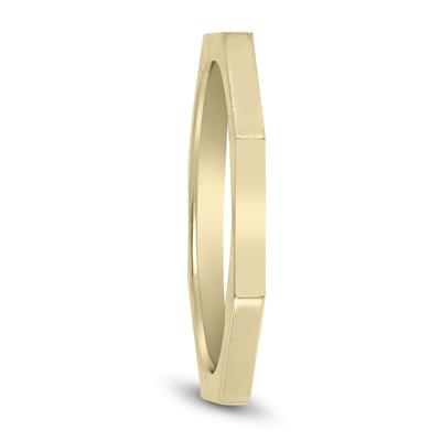 1.5MM Thin Eight Sided Octagon Wedding Band in 14K Yellow Gold