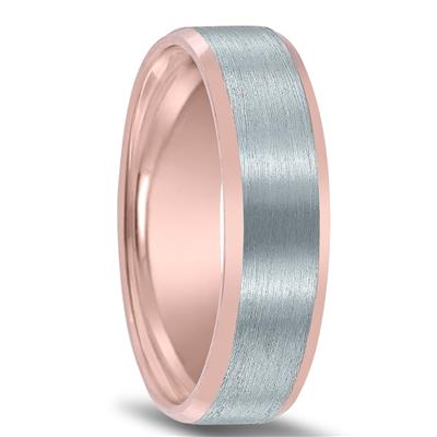 6mm Contemporary Two Tone 10K White and Rose Gold Wedding Band