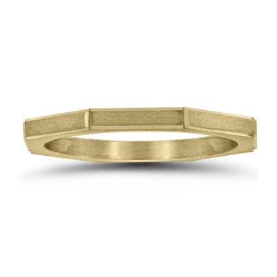 Eight Sided Thin 1.5MM Matte Finish Wedding Band in 14K Yellow Gold